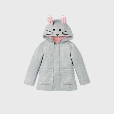 Toddler Girls' Bunny Hooded Fashion Faux Wool Jacket - Cat & Jack™ Heather Gray 12M