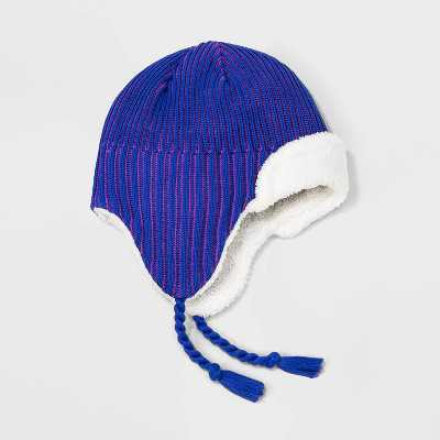 Girls' Lined Beanie - All in Motion™ Blue One Size