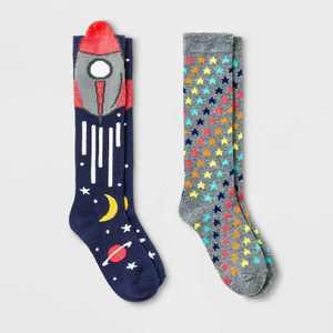 Girls' 2pk Knee High Rocketship Print Socks - Cat & Jack