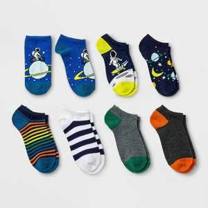 Boys' 7pk No show Space Print Socks - Cat & Jack