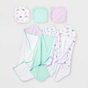 Baby Girls' 9pk Dino Hooded Bath Towel and Washcloth Set - Cloud Island™ Purple