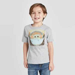 Toddler Boys' Baby Yoda Short Sleeve T-Shirt - Gray