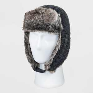 Men's Cable Knit Faux Fur Trapper Hat - Goodfellow & Co™ Gray One Size