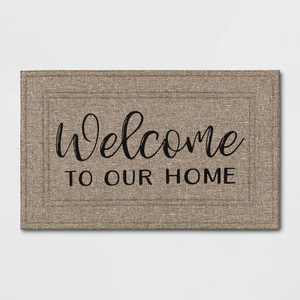 "1'6""x2'6"" ""Welcome to Our Home"" Mat Tan - Apache Mills"