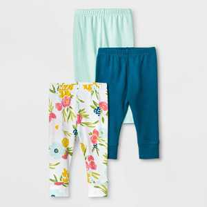 Baby Girls' 3pc Floral Fields Leggings - Cloud Island Mint Green