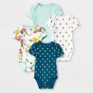 Baby Girls' 4pk Floral Fields Short Sleeve Bodysuit - Cloud Island Green/White
