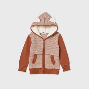 Toddler Boys' Hoodie Zip Reverse Jersey Striped Cardigan - Cat & Jack Orange