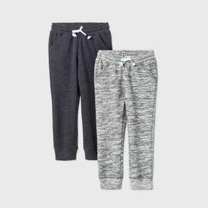 Toddler Girls' 2pk Fleece Jogger Pants - Cat & Jack™ Gray/Black 12M