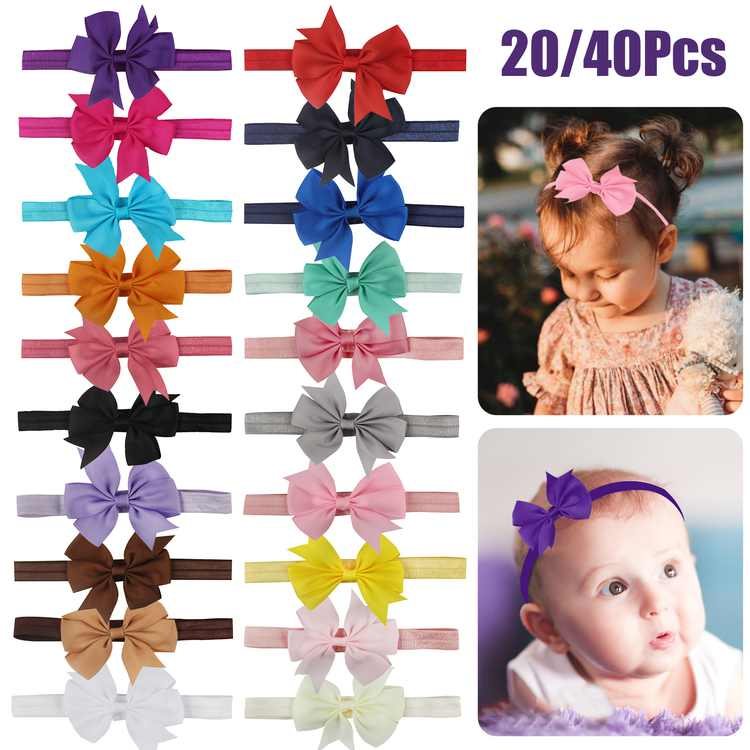 20Pcs Baby Girl Bows Headbands, TSV Newborn Hairband, Infant Turban Knotted Headband, Soft Stretchy Polyester Elastic Headwraps, Hair Accessories for Infants Toddler Children Girls Kids (12 Colors)