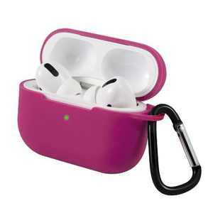 For AirPods Pro Case Silicone Protective Cover Skin with Keychain for Apple Airpod Pro 3 3rd 2019 Wireless Charging Earbuds Case, Rose Red by Insten