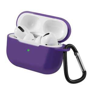 For AirPods Pro Case Silicone Protective Cover Skin with Keychain for Apple Airpod Pro 3 3rd Gen 2019 Wireless Charging Earbuds Case, Purple by Insten