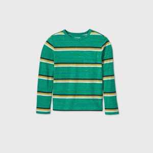 Boys' Striped Long Sleeve T-Shirt - Cat & Jack™ Green/Yellow XXL