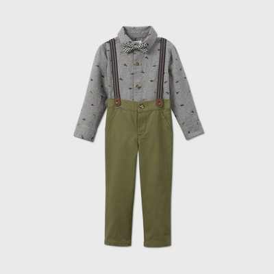 Toddler Boys' 3pc Fall Dressy Dino Top and Bottom Set - Just One You made by carter's Light Blue/Olive