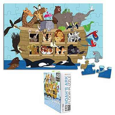 Blue Panda Floor Puzzle for Kids - Noah's Ark - Jumbo Jigsaw Puzzle, Educational Game for Family and Kindergarten, Age 3-5, 48-Piece, 1.9 x 2.9 Feet