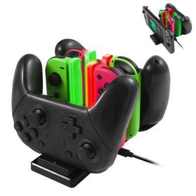 Insten 6-in-1 Charger for Nintendo Switch Joycon and Pro Controller, Charging Station Dock & Stand Games Accessories for Joy Cons with USB C Cable