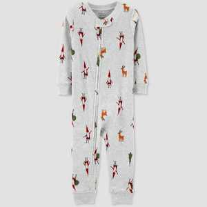 Toddler Organic Cotton Christmas Footless Pajama Jumpsuit - little planet organic by carter's White 2T