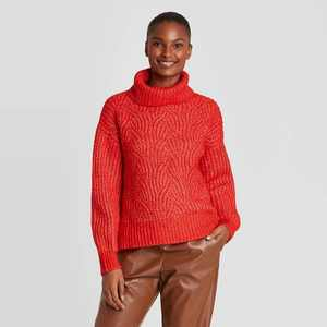 Women's Turtleneck Cable Stitch Pullover Sweater - A New Day