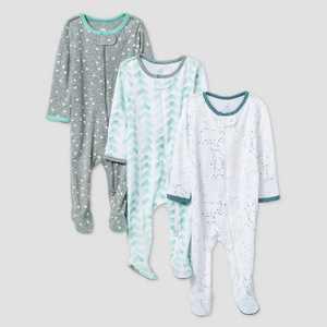 Baby Boys' 3pk Starry Slumber Sleep N' Play - Cloud Island™ Green/White/Gray Newborn