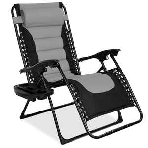 Best Choice Products Oversized Padded Zero Gravity Chair, Folding Outdoor Patio Recliner w/ Headrest, Side Tray - Gray