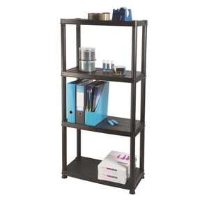 Ram Quality Products Primo 12 inch 4-Tier Plastic Storage Shelves, Black