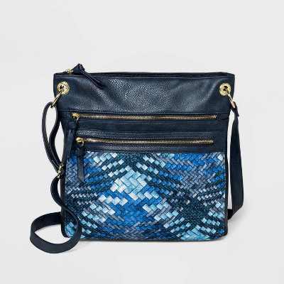 Bueno Zip Closure Denim Crossbody Bag - Blue