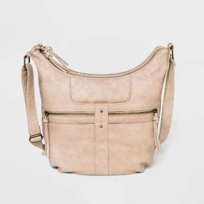 Bueno Zip Closure Convertible Shoulder Bag - Beige