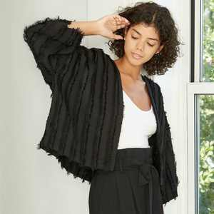 Women's Striped Fringe Overcoat- A New Day™ One Size Black