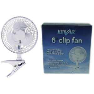 Active Air ACFC6 6-Inch 2-Speed Clip-On Desk Mountable 360-Degree Hydroponics Grow Fan with Spring-Loaded Plastic Clip for Office, Greenhouse, Kitchen