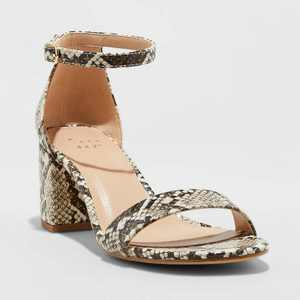 Women's Michaela Snake Print Mid Block Heel Sandal - A New Day