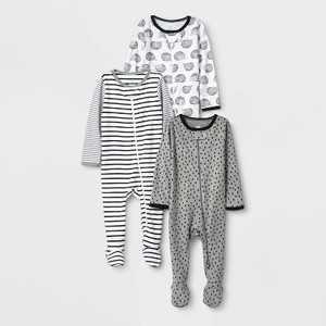 Baby 3pk Zip-Up Sleep N' Play - Cloud Island Black/White