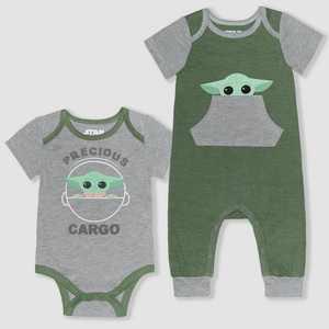 Baby Boys' Star Wars 2pk Baby Yoda Romper - Gray