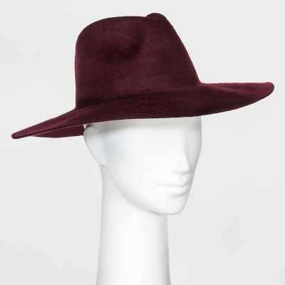 Women's Brushed Wide Brim Felt Fedora Floppy Hat - A New Day™ Burgundy One Size