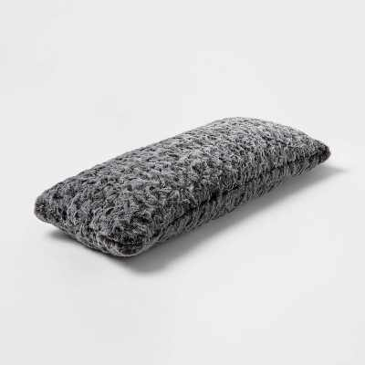 Oblong Oversized Faux Fur Decorative Throw Pillow Gray - Threshold™