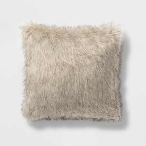 Square Faux Fur Decorative Throw Pillow Tan/Neutral - Threshold™