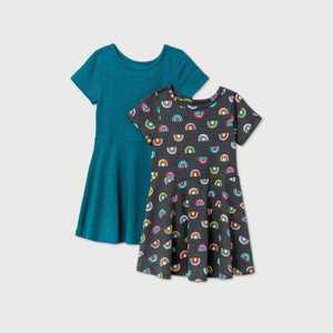 Toddler Girls' 2pk Rainbow Dress - Cat & Jack Gray/Teal