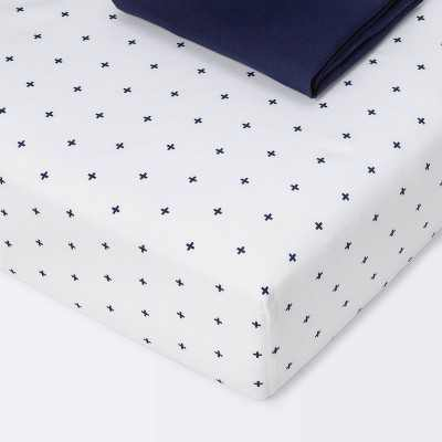 Crib Fitted Sheets Plus and Navy Solid - Cloud Island™ Navy 2pk