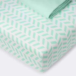 Fitted Crib Jersey Sheet Chevron and Solid Mint - Cloud Island™ Mint 2pk