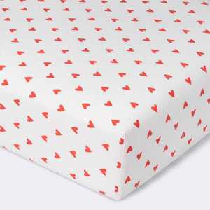Flannel Crib Fitted Sheet Hearts - Cloud Island™ Red/White