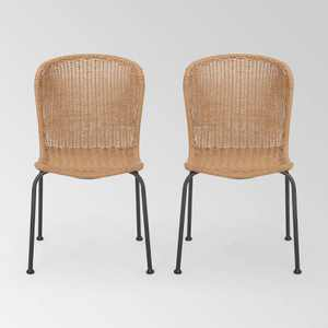Spinnaker Set of 2 Wicker Boho Dining Chairs - Light Brown - Christopher Knight Home