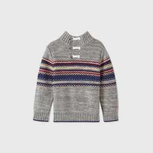 Toddler Boys' Handstitched Toggle Button Pullover Sweater - Cat & Jack Gray