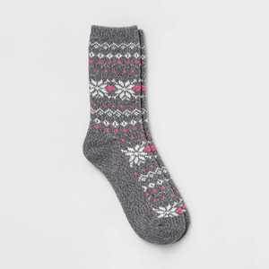 Warm Essentials by Cuddl Duds Women's Snowflake Fair Isle Crew Socks - Gray 4-10