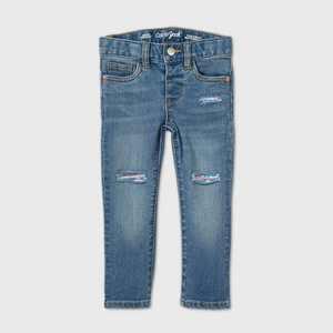 Toddler Girls' Sequin Patch Skinny Jeans - Cat & Jack Light Wash