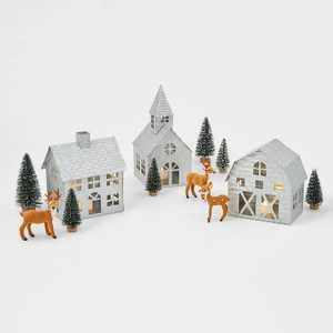 Galvanized Buildings with Trees & Faux Fur Deer Decoration Kit - Wondershop™
