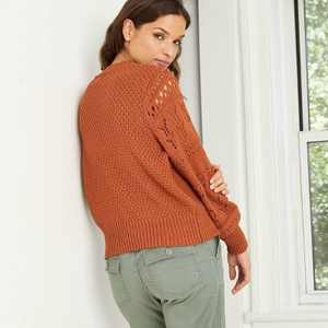 Women's Crewneck Cable Knit Pullover Sweater - Universal Thread