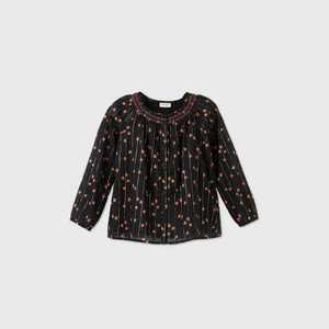 Girls' Long Sleeve Floral Blouse - Cat & Jack™ Black XS