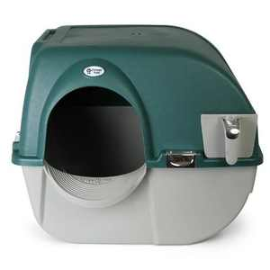 Omega Paw Roll'n Clean Unique No Scoop Self-Cleaning Indoor Home Cat Litter Box with Integrated Litter Catcher, Green