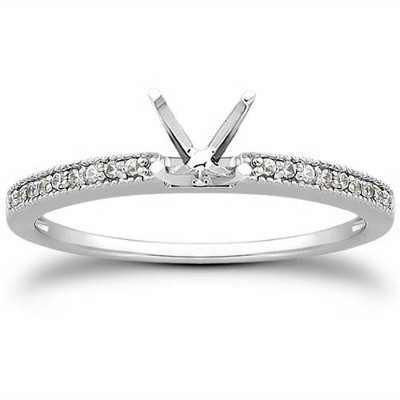 Pompeii3 1/10 Ct Diamond Engagement Semi Mount Ring 14K White Gold
