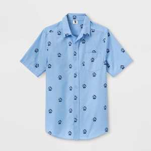 Men's Pabst Blue Ribbon Short Sleeve Button-Down Shirt - Blue