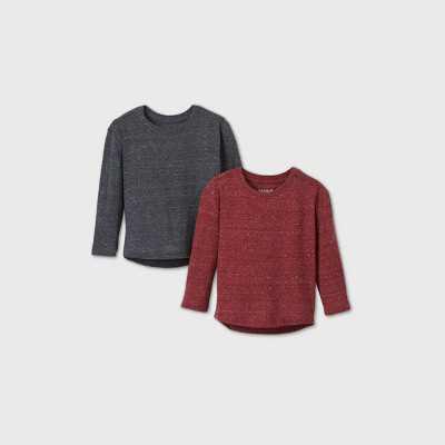 Toddler Boys' 2pk Long Sleeve Sharegainner Snow T-Shirt - Cat & Jack Red/Charcoal