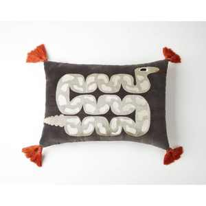 Oblong Snake Decorative Throw Pillow Gray - Justina Blakeney